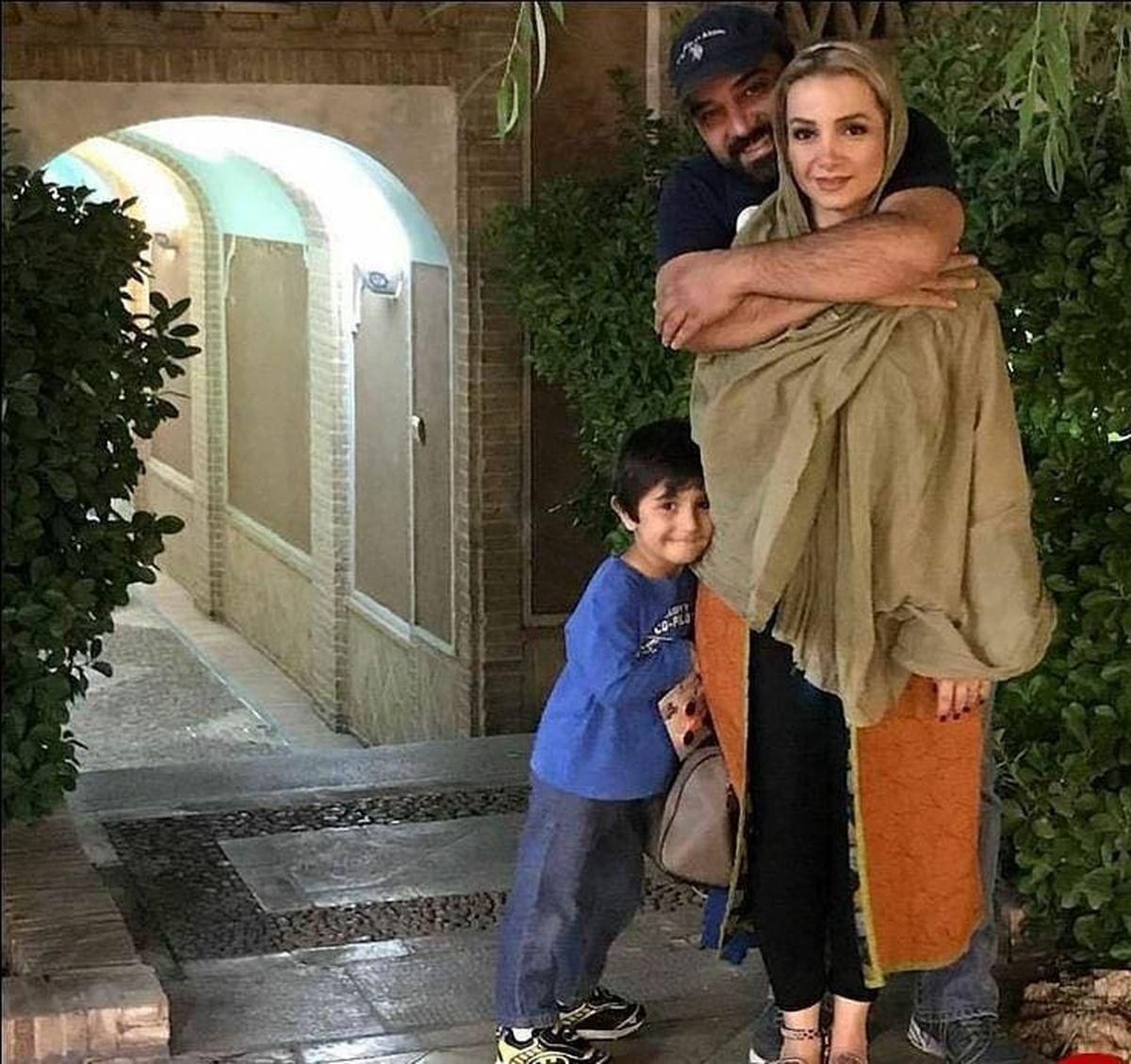 شلوار کوتاهِ همسر برزو ارجمند در آغوشش + عکس
