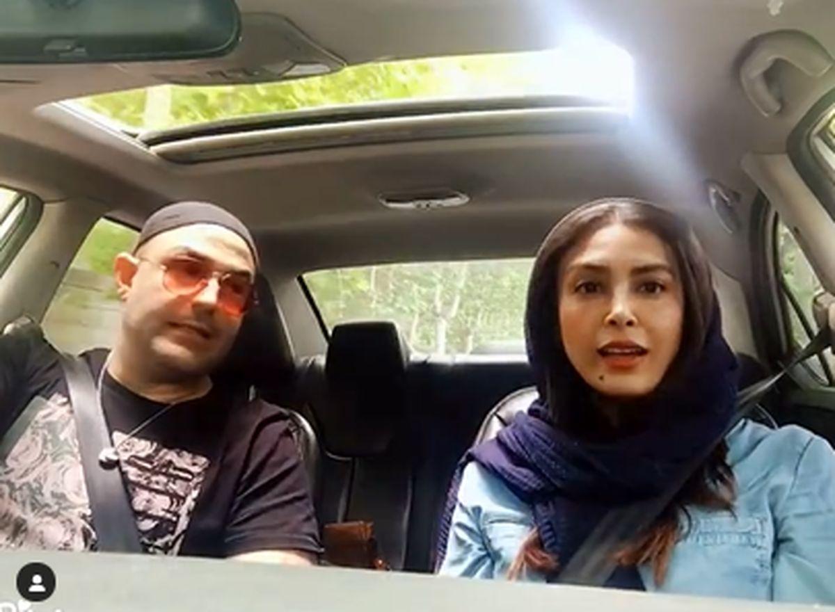 حدیثه تهرانی و همسرش در خودروی لوکسشان / عکس