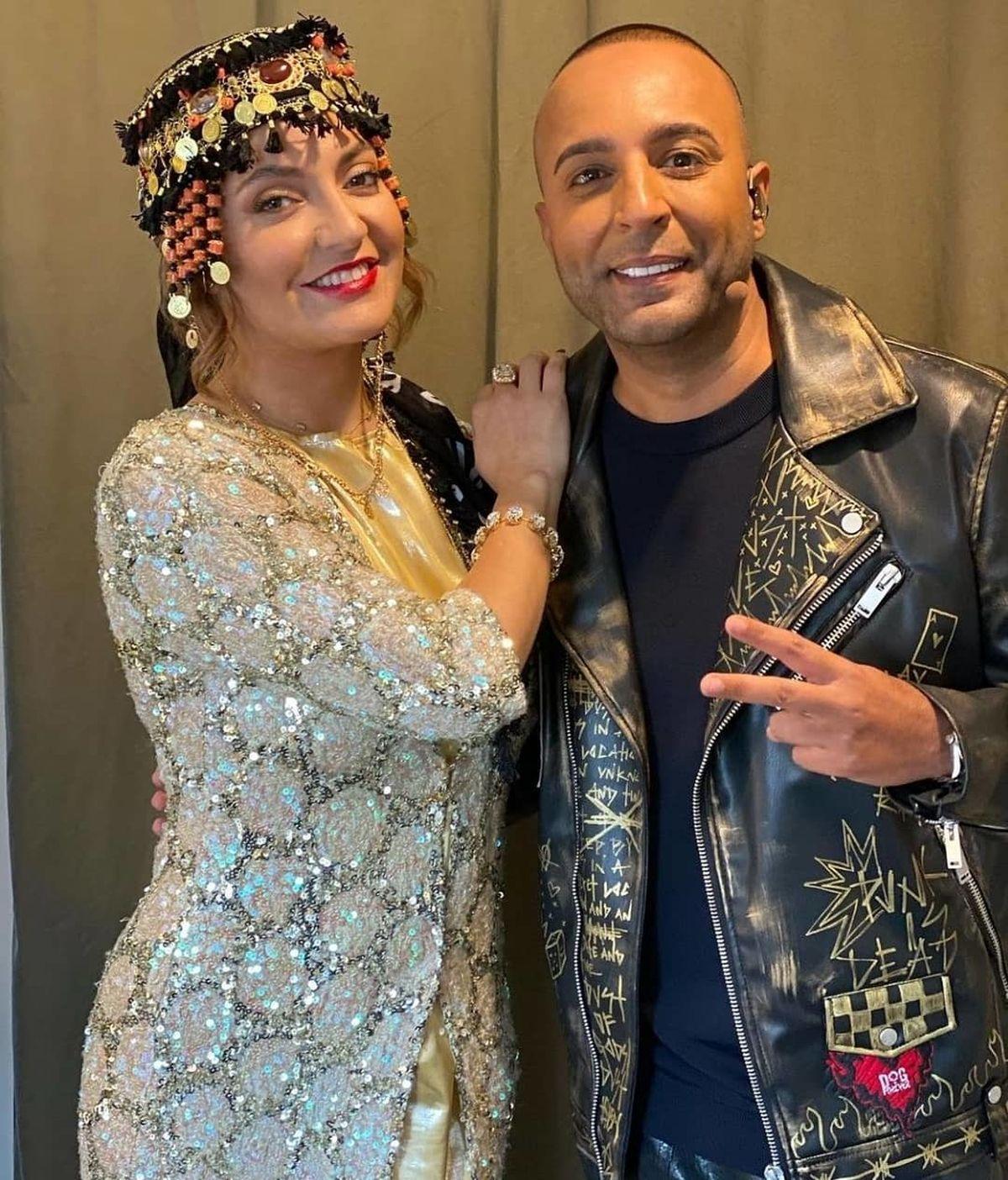 مهناز افشار با لباس توری در آغوش آرش خواننده/ لباس آستین کوتاه و عشوه مهناز افشار +عکس