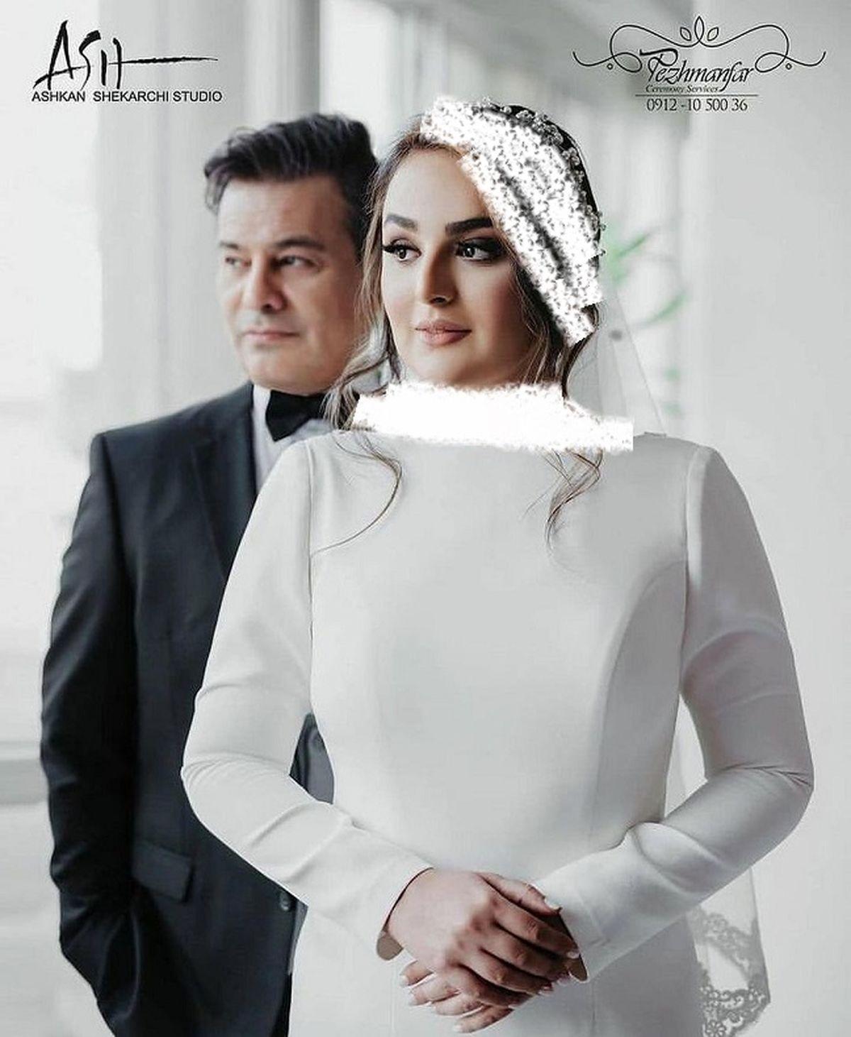 پیمان قاسمخانی و همسر جوانش در آتلیه +عکس