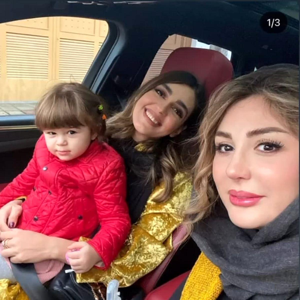 دور دورِ نیوشا ضیغمی و دخترش با خودری میلیاردی اش + عکس