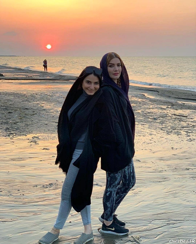 متین ستوده با ساپورت تنگ و چسبان در کنار دریا + عکس