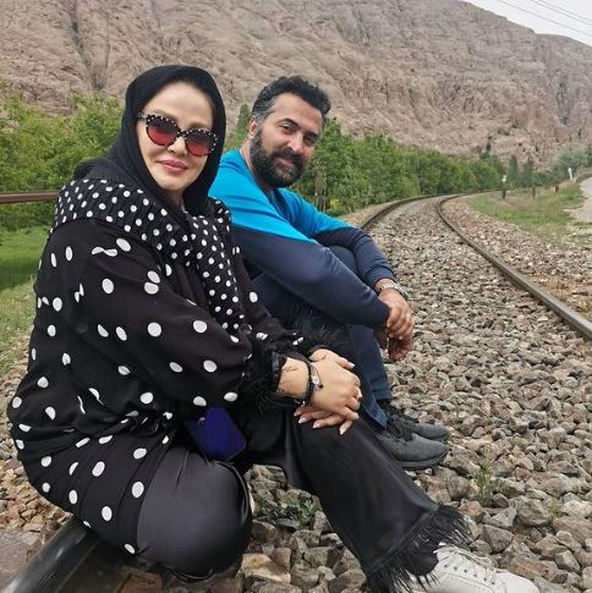 خوشگذرانی بهاره رهنما و حاجی با تیپ خال خالی +عکس
