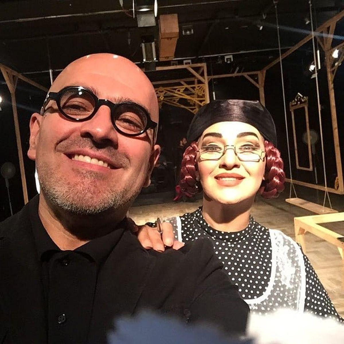 رویا نونهالی بدون حجاب و موهای شرابی در کنار همسرش + عکس