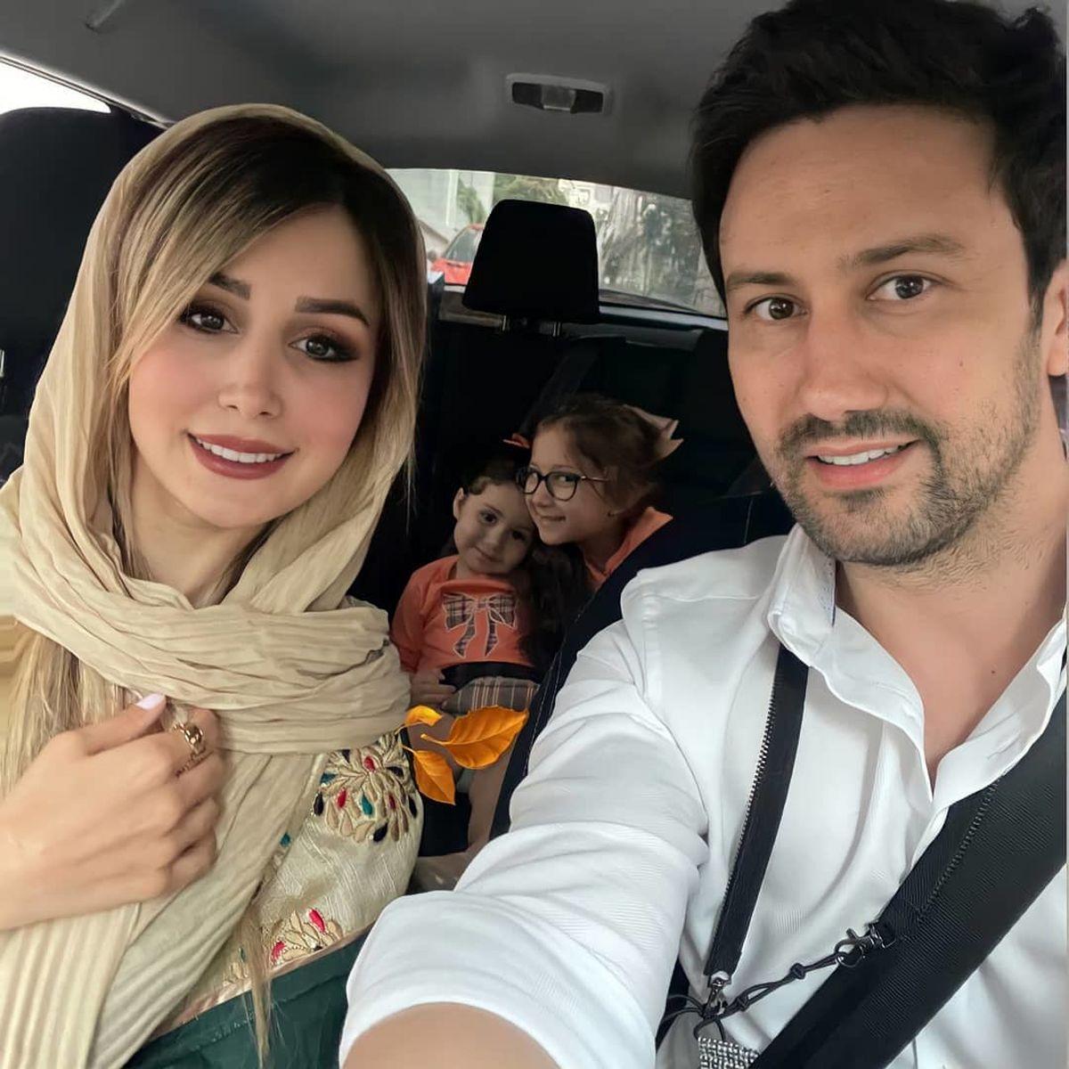 سلفی شاهرخ استخری و همسرش در خودروی لوکسشان + عکس