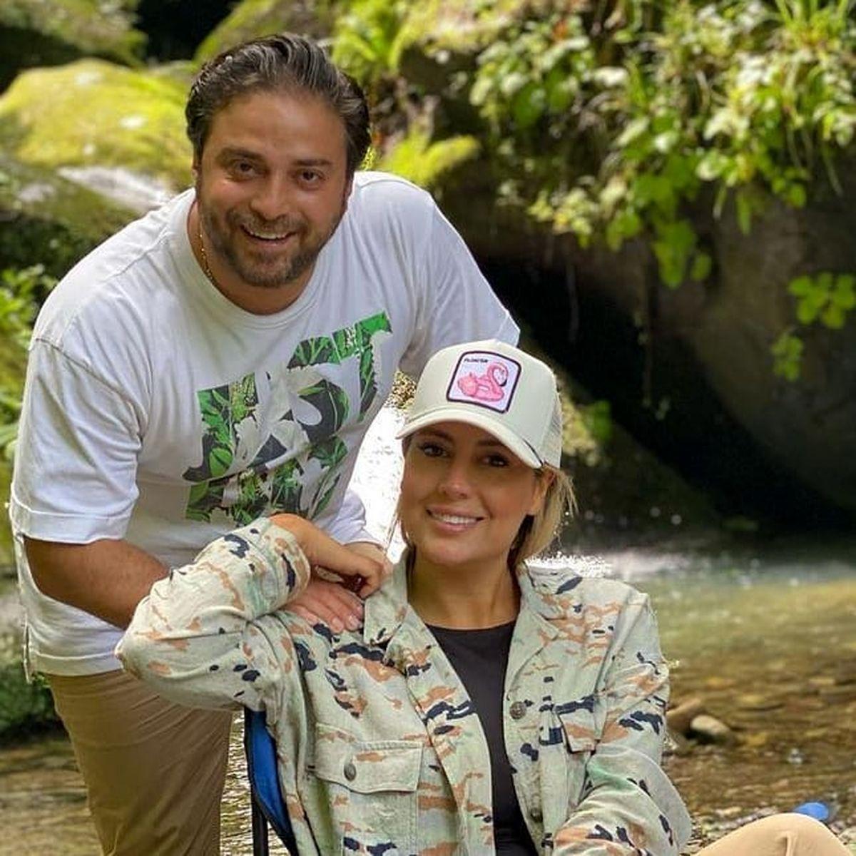 بابک جهانبخش و همسر بی حجابش در کنار آب + عکس
