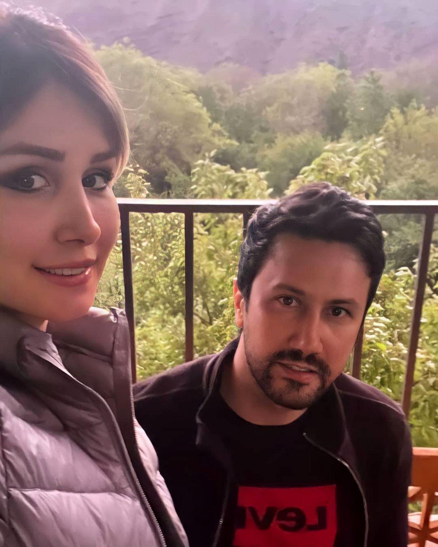 سلفی بی حجاب همسر شاهرخ استخری در باغ + عکس