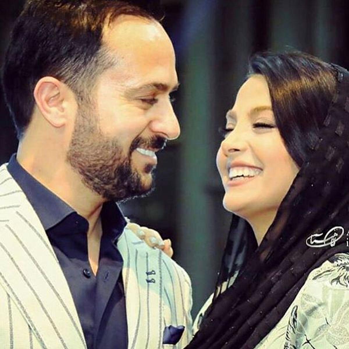 بوسه و عشوه احمد مهرانفر و همسرش + عکس